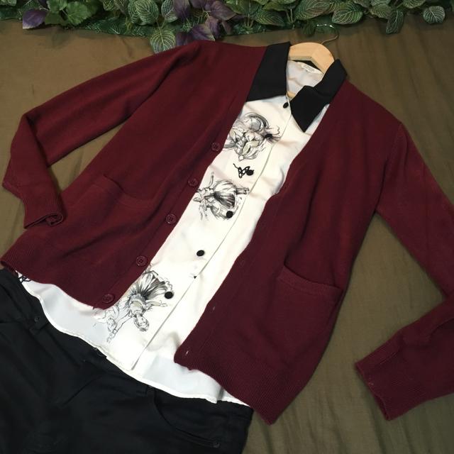 TETE HOMME(テットオム)の【サロン系コーデ】クレリックシャツ+ニットカーディガンM 定価 ¥28,000 メンズのトップス(シャツ)の商品写真