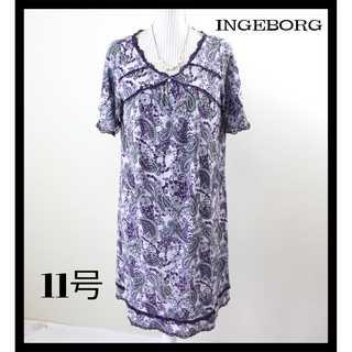 インゲボルグ(INGEBORG)のインゲボルグ★薔薇 ペイズリー柄 半袖ワンピース 11号(L) 紫 ゆったり(ひざ丈ワンピース)