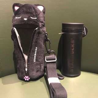 Starbucks Coffee - スタバ サーモス 黒 猫 ステンレスボトル カバー 訳あり miyu☆様専用