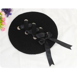 黒 ラック 編み込み レースアップ ベレー帽 帽子 ブラック
