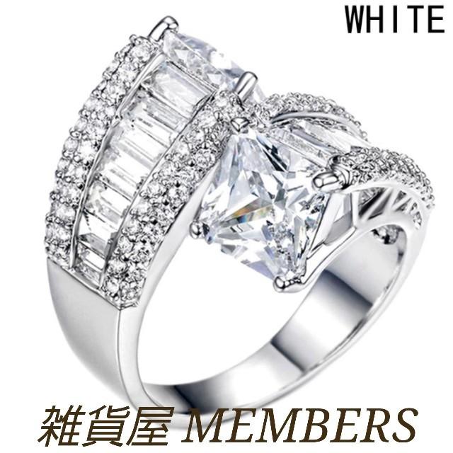 送料無料15号クロムシルバースーパーCZダイヤデザイナーズジュエリーリング指輪 レディースのアクセサリー(リング(指輪))の商品写真