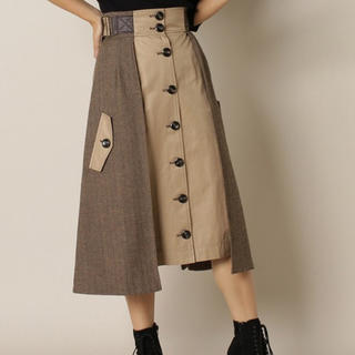 REDYAZEL - 配色ヘリンボーンフロントボタンスカート