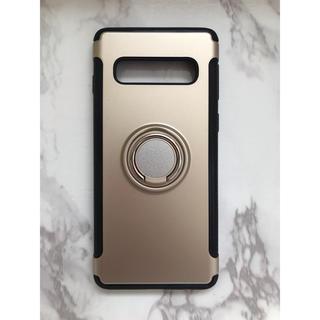 Galaxy - GalaxyS10Plus カッコいい リング付き耐衝撃ケース ゴールド 金