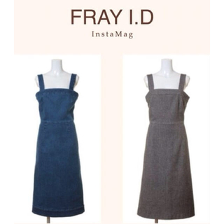 フレイアイディー(FRAY I.D)のFRAY I.D ツイードサロペットワンピース💕snidel、リリーブラウン(ロングワンピース/マキシワンピース)
