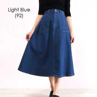 【934555】パッチポケット付きフレアデニムスカート/ライトブルー(92)/M(ひざ丈スカート)
