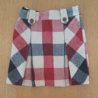 ブーフーウー(BOOFOOWOO)のブーフーウー☆チェック 膝丈 スカート S 100 110 120(スカート)