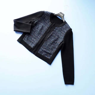 アナイ(ANAYI)の■アナイ■ 38 黒x青マルチ ニットツイードジャケット ANAYI(ノーカラージャケット)
