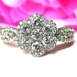 眩しい煌めき♡贅沢純白ダイヤモンドリングK18WG(リング(指輪))