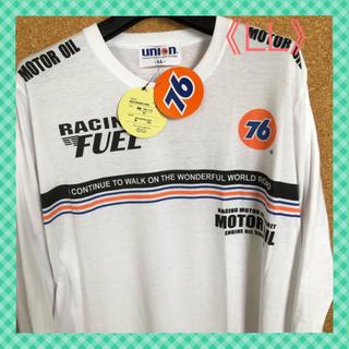 セブンティーシックスルブリカンツ(76 Lubricants)の【ユニオン76】Wオレンジラインが鮮やかな‼️メンズ Tシャツ(長袖)《LL》(Tシャツ/カットソー(七分/長袖))
