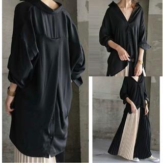 antiqua - antiqua とろみシャツ バックボタン付きシャツ ブラック