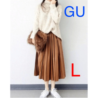 GU - 【GU】プリーツスカート キャメル ブラウン ベージュ❁Lサイズ✩.*˚