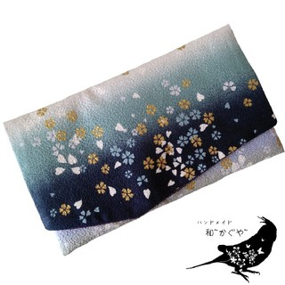 A.青 金封袱紗(ふくさ)慶弔両用 桜 グラデーション 金彩