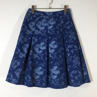 ローラアシュレイ(LAURA ASHLEY)のローラアシュレイ プリーツスカート ブルー系 フレア サイズ9 総柄 花柄(ひざ丈スカート)
