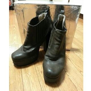 ロンドン購入 ウ゛ィンテージ ショートブーツ ブラウン LL 24.5cm 25(ブーツ)