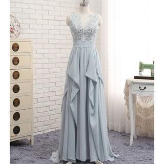 高品質! イブニングドレス ブルーグレー  ふんわりシフォン ミニトレーン/短ト(ウェディングドレス)