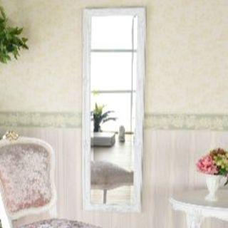 アンティークホワイトの姿見ミラー 鏡 壁掛け ウォールミラー プリンセス