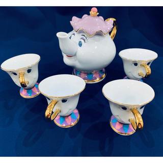 Disney - 美女と野獣 ポット婦人とチップカップ4客
