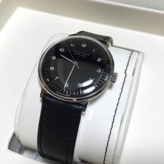 ユンハンス(JUNGHANS)の【送料無料・美品】ユンハンス マックスビル 34mm 黒盤(腕時計(アナログ))