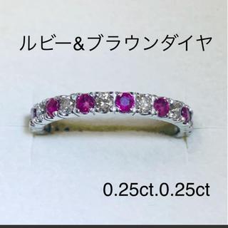 プラチナ ルビー&ブラウンダイヤモンド(リング(指輪))