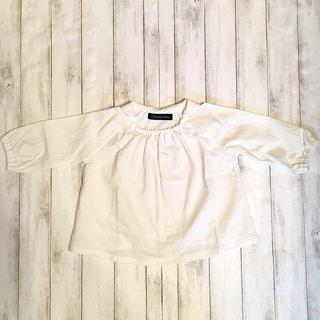 ■サイズ90/チビ襟ブラウス/オフホワイト(ブラウス)