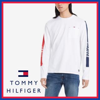 トミーヒルフィガー(TOMMY HILFIGER)のトミーヒルフィガー★サイドロゴ ロング スリーブ ホワイト Tシャツ(Tシャツ/カットソー(七分/長袖))