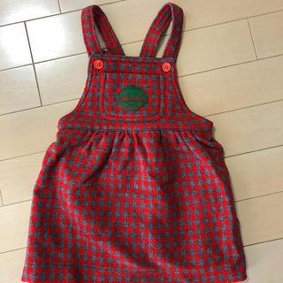mikihouse - ミキハウス チェック柄ジャンパースカート 90サイズ