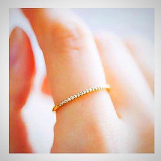【11号:特価】ハーフエタニティイエローゴールドカラーAAACZダイヤ リング(リング(指輪))