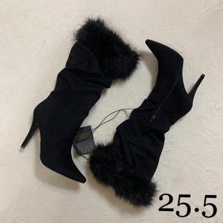 フォーエバートゥエンティーワン(FOREVER 21)の新品未使用タグ付 ファー付ブラックブーツ 8.5(ブーツ)