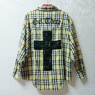 ユメテンボウ(夢展望)の【送込】夢展望 クロス 十字架 チェックシャツ 金ボタン 黄色 イエロー M(シャツ/ブラウス(長袖/七分))