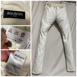 BALMAIN - BALMAIN HOMME バルマンオム  ダスティ加工ホワイトデニム 34