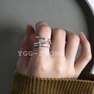 YGG★新品 4連 リング 指輪 リンク シルバー925 11号 多重(リング(指輪))
