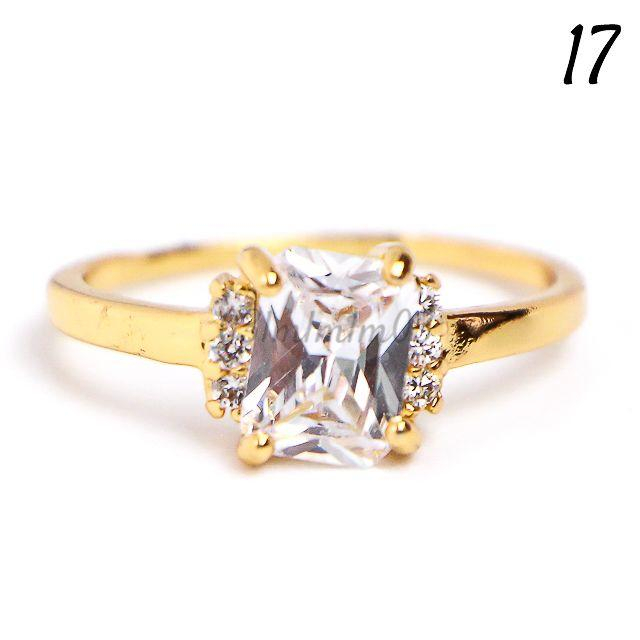 W21 リング 17号 バケット 人工石 ホワイトサファイア ゴールド レディースのアクセサリー(リング(指輪))の商品写真