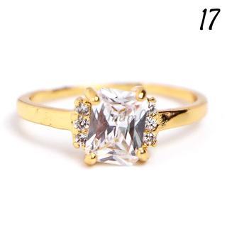 W21 リング 17号 バケット 人工石 ホワイトサファイア ゴールド(リング(指輪))