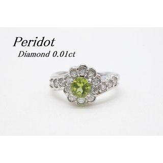 【R974】SILVER 925 ダイヤモンド ペリドット リング 8号(リング(指輪))