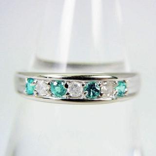 K18WG パライバトルマリン ダイヤモンド リング 11号[f70-5] (リング(指輪))