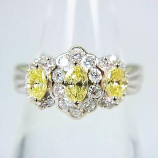 Pt900 ライトイエロー、無色 ダイヤモンド リング 11号[f70-7](リング(指輪))