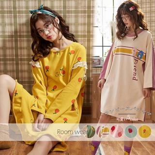 ❤【OneSize】ワンピース パジャマ ルームウェア 寝巻き (全5色)(パジャマ)