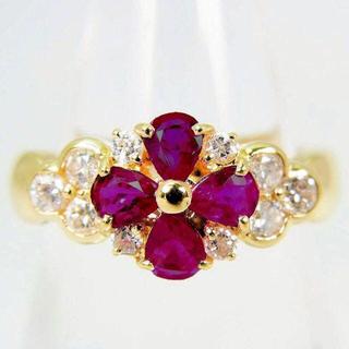 K18 ルビー ダイヤモンド リング 9号[f70-6] (リング(指輪))