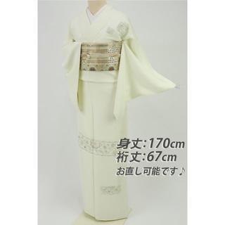 《未使用品■長尺■極上刺繍■更紗花唐草付下げ■白緑◆袷正絹着物◆SS10-3》(着物)