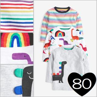 ネクスト(NEXT)の*80*レインボー 恐竜 長袖Tシャツ 3 枚組2(シャツ/カットソー)