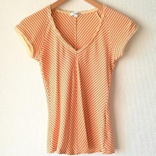 Tシャツ オレンジ イエロー ゴールド ストライプ レース(Tシャツ(半袖/袖なし))