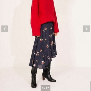 ミラオーウェン(Mila Owen)のミラオーウェン アシンメトリーヘム花柄フレアスカート(ひざ丈スカート)