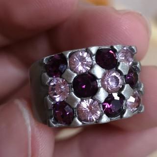 指輪 ピンク&紫ラインストーン(リング(指輪))