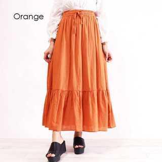 【934578】コットンロングティアードスカート/オレンジ/M(ひざ丈スカート)