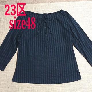 23区 - *23区*大きいサイズ 七分袖ブラウス ブラック 48サイズ