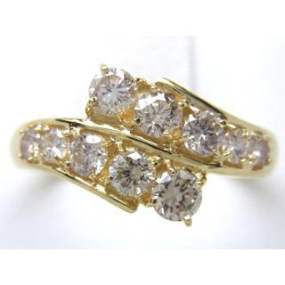 お値引き不可 K18 合計1.06ct 天然 ダイヤモンド リング(リング(指輪))