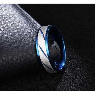 シルバーカラーのフロストトリング (ブルー)  サイズ:15号(リング(指輪))