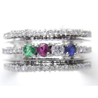 お値引き不可 PT900 天然3 大貴石 ダイヤ リング(リング(指輪))
