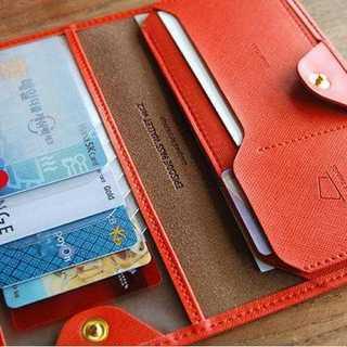 カードケース カード入れ 札入れ 多機能 大収納 オレンジ スタイリッシュ(財布)