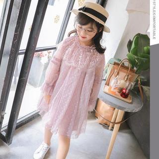 新品★子供服 チュールワンピース 女の子 レース ピンク 90(ワンピース)